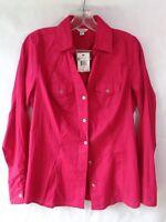 Guess Women's Disco Pink Suzie Poplin Long Sleeve Shirt Size Medium NWT