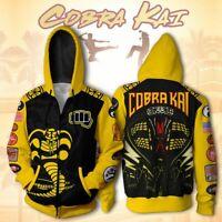 Movie No Mercy Cobra Kai Mens Karate Kid Inspired Mr. Miyagi Zipper Hoodies Coat