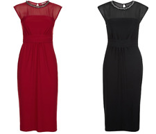 Ex Monsoon Serena Embellished Neck Dress In Black and Red Party Occasion (134)