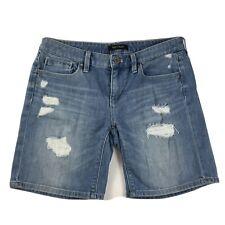 White House Black Market Women's Girlfriend Jean Shorts Size 2 Denim Distressed