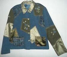 Napa Valley Elegant Patchwork Chenille Jacket Blue Moss Beaded Embroidery Sz XL