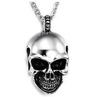 Bijoux Pendentif Collier Homme - Chaine - Tete de mort Tribal Gothique - Acier I