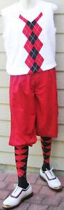 New Men Golf Knickers Red Microfiber Golf Knicker Outfit-VWRB -Vest & Socks