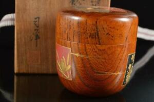 #5452: Japanese Old Wooden Flower pattern TEA CADDY Natsume, auto w/signed box