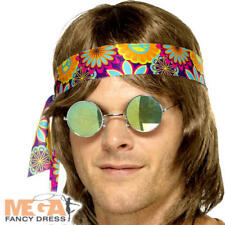 Mirrored Hippie Specs Adults Fancy Dress 70s Hippy Peace Lenon Costume Glasses