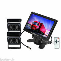 "12-24V 2x CCD Reversing Camera Kit For Lorry Horsebox + 7"" TFT LCD Color Monitor"