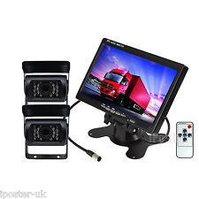 "12-24V 2x CCD Reversing Camera Kit For Lorry Horsebox + 7"" TFT LCD Color Monitor"