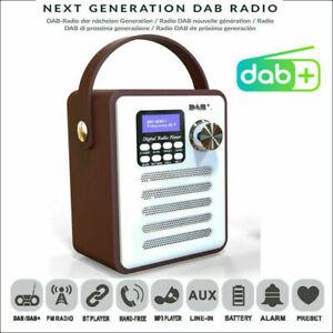 Wood Portable DAB Digital Rechargeable Retro Stereo Bluetooth FM Radio Audio MP3