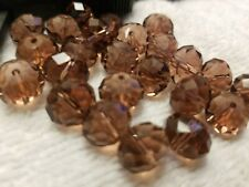 25 pcs 11mm Brown Rondelle Faceted Crystal Glass Loose Spacer Beads Findings