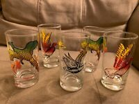 VTG Mid Century Set Of 5 DUCK, Pheasant and Wild Geese Tumbler Drinking Glasses