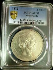 PCGS AU55 Gold Shield-Netherlands 1872 Willem III Silver 2-1/2 Gulden Scarce