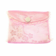 Pink fabric embroidered rosary beads purse bag button stud fastener 8cm silky