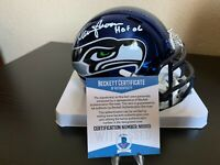 Seattle Seahawks Warren Moon Signed Chrome Mini Helmet with Beckett COA