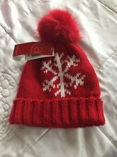 Red Wollley Snowflake Beanie Hat One Size With Furry Pom Pom