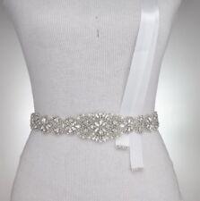Bridal Bridesmaids Dress Rhinestone Crystal Pearl Sash White Ribbon Belt 57cm
