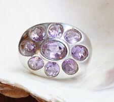 Silberring 58 Mächtig Handarbeit Amethyst Quer Oval Lila Ring Silber Modern
