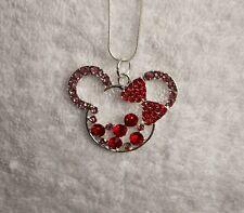 MICKEY Minnie Mouse Orecchie Collana con Ciondolo grande indesiderate + strass regalo Disney