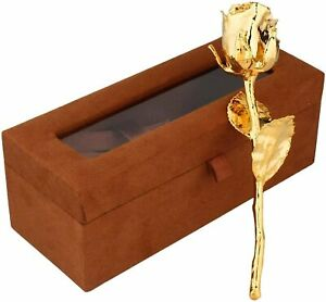 24k Gold Plated Natural Rose with Exclusive Golden Gift Box Birthday,Women,Girls