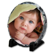 Photo Slate, Personalised Circle Plaque With Stand, Wedding Baby Gift, Any Image