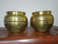 Vintage Middle Eastern Pair of Islamic Brass Pots Engraved Design (Decorative)