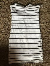 H&M Ladies Womens Long Striped Sleeveless Top (White) UK Size 10 - VGC