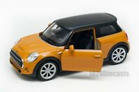 New Mini Hatch Dark Yellow, Welly scale 1:34-39, model toy car gift