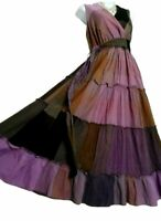 Roman Originals Cotton Dress 14 Purple tiered maxi Boho Gypsy lined Belt VGC