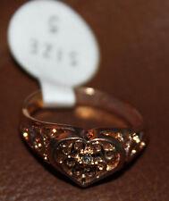NICE NEW WOMENS HEART YELLOW GOLD 18K HGE RING SIZES 5, 6