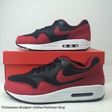 "NIKE AIR MAX 1 GS TRAINERS WOMENS GIRLS BLACK RED ""BRED"" SHOES UK 6 RRP £100"