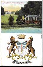Prior Park & Palladian Bridge, W Bath Coat of Arms PPC, 1906 PMK to Dublin