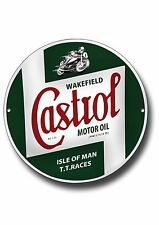 "CASTROL TT RACES 11"" ROUND METAL SIGN.IOM TT RACES,MOTORCYCLE RACE CAPITAL."