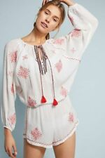 NWT $226.00 Anthropologie Nador Rhea Embroidered Romper by Eberjey M/L.