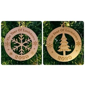 Lockdown 2020 Bauble ~ Generic Christmas Tree Decoration~ Wooden Xmas Gift