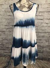 ENTRO Women's S Shirobi Tye Dye Blue White Pink Bubble Top Mini Dress Embroidery