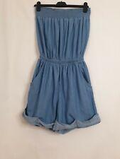 Next Blue Soft Denim Strapless Playsuit Size UK 8