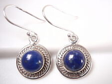 Lapis Round 925 Sterling Silver Dangle Earrings with Rope Style Highlights