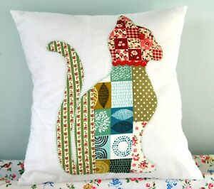 """Cat cushion sewing pattern template sew a applique cat cushion 12"""" patchwork cat"""