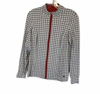 Clover Bobby Jones Performance Athletic Jacket Full Zip Black White Size Medium