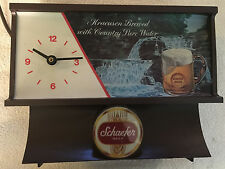 Vintage Schaefer Beer Sign Lighted with Motion Water Lighted Clock Working RARE