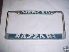 Merced CA Metal Dealership License Plate Frame Embossed Holder Tag