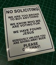 No Soliciting Funny Sticker Novelty Funny Large A4 Window Cold Callers Junk