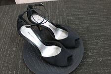 Women's Antonio Melani Black Fabric leather Soles Strappy open peep toe heels 7M