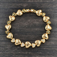 Fashion Women Gold Plated Clear CZ Laser Stamped Love Hearts Link Bracelet