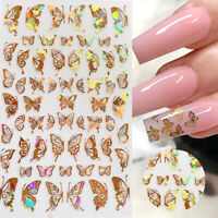 4X 3D Butterfly Holographic Adhesive Nail Stickers Nail Decal Nail Art Manicure