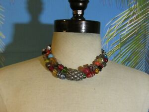"""Chico's Double Chain Necklace with Multi Styles of Beads 14"""""""
