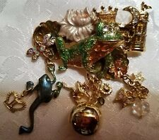 Crown Goldtone Charms Bell Brooch Pin Kirks Folly Signed Frog Prince Castle