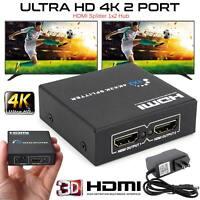 NEW 1 INPUT 2 OUTPUT HDMI SPLITTER 2 WAY SWITCH BOX HUB SUPPORT FULL 4K HD 3D