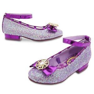 Disney Store Rapunzel Costume Sparkle Shoes Dress Up Tangled Glitter Bow Ballet