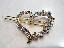 Gold crystal heart  hair clip barrette bridal clip bridal barrette