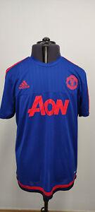 Adidas Manchester United Mens Football Shirt 2015 2016 Training Top Blue L